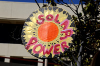 Some protesters pointed to solar power as an alternative to oil.