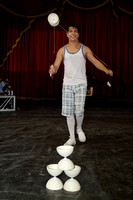Circus performer Steve Caveagna practices a skill called Diablo during rehearsal.