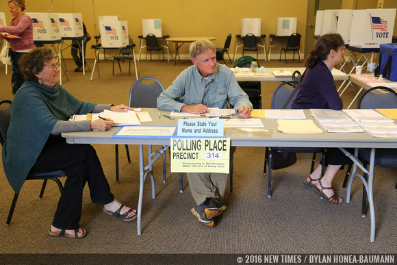 Left to right: Marcelle Bakula, David Keeling, and Elena Keeling volunteer to man one of SLO County's polling places.