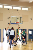 The SLO Ballerz, one of two unicycle basketball teams in the country, practice at Grace Church.