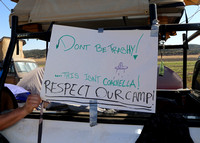 """We want to pack it in pack it out,"" said Jimmy Tafoya about the sign at his camp. ""Coachella is left behind pretty bad."" He admits LIB gets bad with trash too but he encourages people to clean it up."